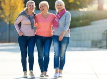 Group of senior women smiling. Group of smiling senior women standing outside Stock Photos