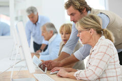 Group of seniors attending computing class royalty free stock images