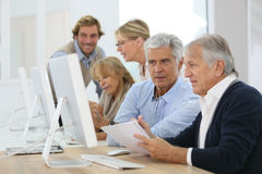 Group of seniors in business training course Stock Photography