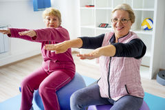 Group of seniors doing exercises Royalty Free Stock Images