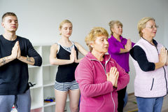 Group of seniors doing exercises Royalty Free Stock Photos