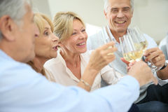 Group of seniors laughing and making toast Royalty Free Stock Image