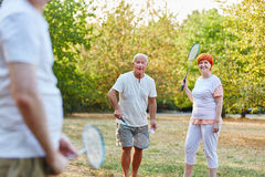 Group of seniors playing badminton in the park. In summer Stock Photo