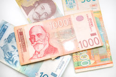 Group of Serbian dinars stock image