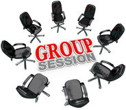 Group Session Meeting Chairs Circle Discussion. A number of chairs gathered in a circle around the words Group Session for a meeting or interaction with several stock illustration