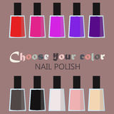 Group set of bright nail polish bottles. Women makeup accessory.  Stock Images