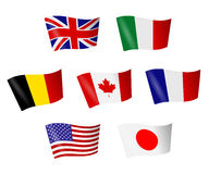 Group of seven. Flags of countries of the Group of seven stock illustration