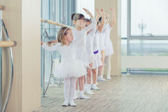Group of seven little ballerinas standing in row and practicing ballet using stick on the wall Stock Images