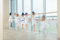Group of seven little ballerinas standing in row and practicing Stock Photos