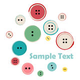 Group of Sewing Buttons with Sample Text Stock Photography