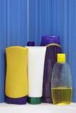 Group of Shampoo bottles. Showering production on bathroom Stock Image