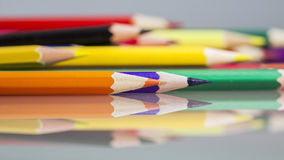 Group of sharp colored pencils Stock Image