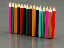 Group of sharp colored pencils with reflexions Stock Image