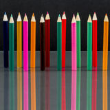 Group of sharp colored pencils with reflexions Royalty Free Stock Images