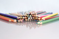 Group of sharp colored pencils with white background Royalty Free Stock Photography