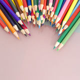 Group of sharp colored pencils with white background Royalty Free Stock Image