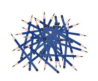 Group of Sharpened Pencils on White Background Stock Photos