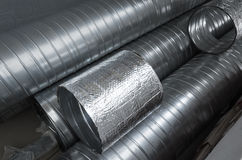Group of shiny metallic tubes Stock Photos