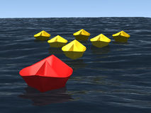 Group of ships with leader on the sea. 3d computer generated image of group of origami paper ships that conduct by leader on the realistic ocean surface, concept Royalty Free Stock Photography