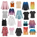 Group of shirts isolated stock photo