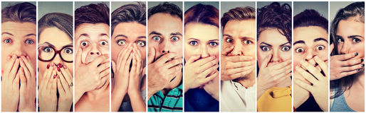 Group of shocked people covering their mouth with hands Royalty Free Stock Photo