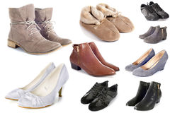Group of shoes. In front of white background Stock Photo