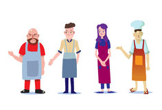 Group of shop owner and waitress in welcome post Royalty Free Stock Photos
