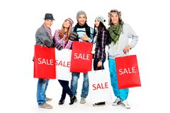 Group of shoppers Royalty Free Stock Photo