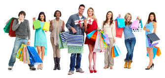 Group of shopping customers. Stock Photos