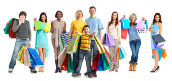 Group of shopping customers. Royalty Free Stock Image