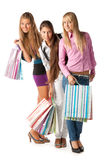 Group of shopping girls Stock Photos