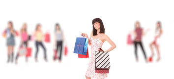 Group of shopping girls Stock Photography