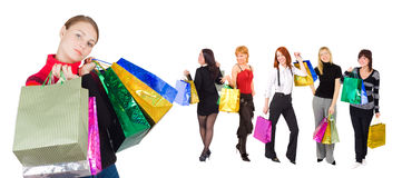 Group of  shopping girls with happy and relaxed on Royalty Free Stock Photos