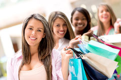 Group of shopping girls Royalty Free Stock Photo