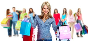 Group of shopping woman. Royalty Free Stock Photos