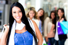 Group of shopping women Stock Photography