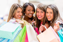 Group of shopping women Stock Images