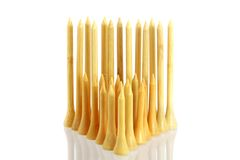A group of Short and Long Bamboo Golf tees Royalty Free Stock Photos