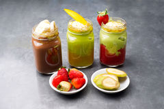 Group shot of fruit smoothies Royalty Free Stock Photo