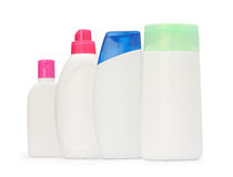 The group shot packaging bottle shampoo and soap liquid isolated Stock Images