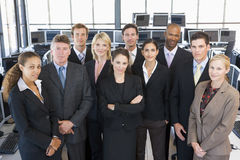 Group Shot Of Stock Traders. In office Royalty Free Stock Image