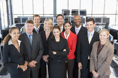 Group Shot Of Stock Traders. In office Royalty Free Stock Photography