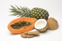 Group Shot of Tropical Fruits. On a white seamless paper Stock Images