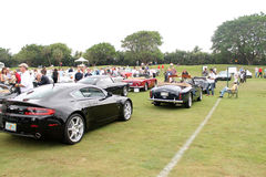 Group shot of various aston martins models Stock Photo