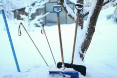 Group of shovels in high snow Royalty Free Stock Photos