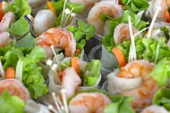 Group shrimp crepe green salad Royalty Free Stock Photography