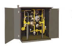 Group shut-off and control valves for control of gas flow to the enterprise Stock Photo