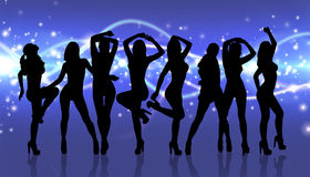 Group of silhouette girls dancing Stock Image