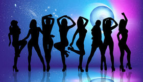 Group of silhouette girls dancing Royalty Free Stock Photos