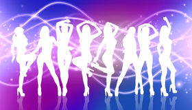 Group of silhouette girls dancing Stock Images